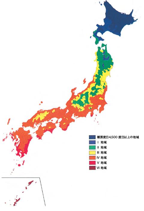 省エネルギー地域区分マップ